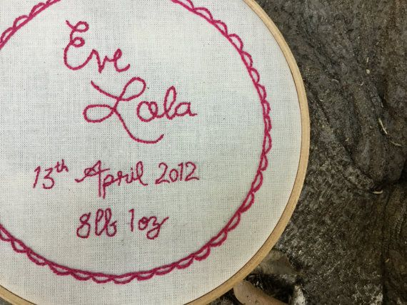 Hand Embroidery Hoop Art, Birth Announcement, New Baby Gift