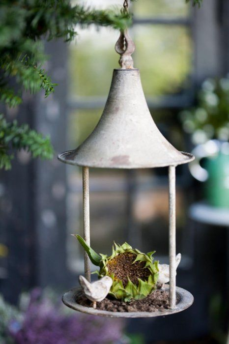 DIY bird feeder out of an old light fixture. Upcycle old lanterns and pails.