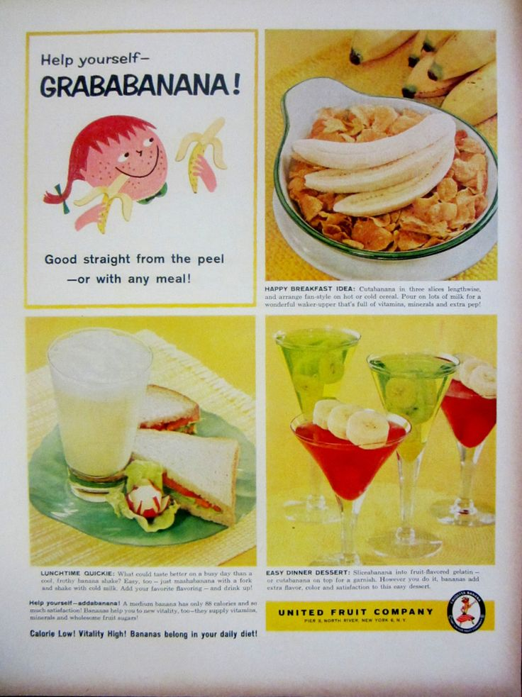 1959 United Fruit Company Grababanana Vintage Advertisement by RelicEclectic on Etsy #RelicEclectic #VintageAd #KitchenWallArt #banana #grababanana
