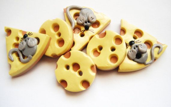 Button Mice and Big Cheese handmade polymer clay button set