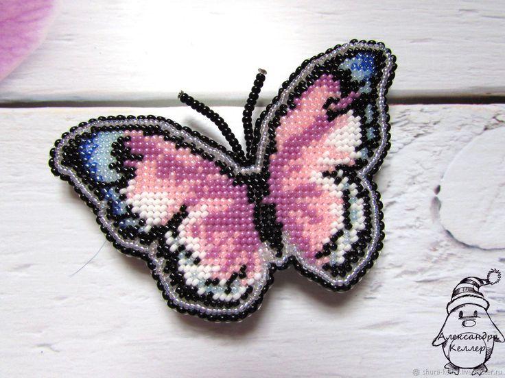 Купить Брошь из бисера Бабочка Фантазия. Вышивка бисером в интернет магазине на Ярмарке Мастеров