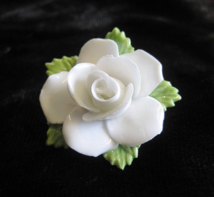 White Coalport China Rose Brooch, Handmade Vintage Brooch by TheWhistlingMan on Etsy
