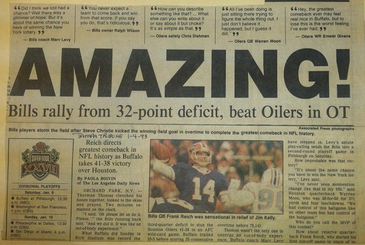 Just one of the unBILLievable headlines from this day, 20 years ago, when the Bills pulled off the greatest comeback in NFL history.
