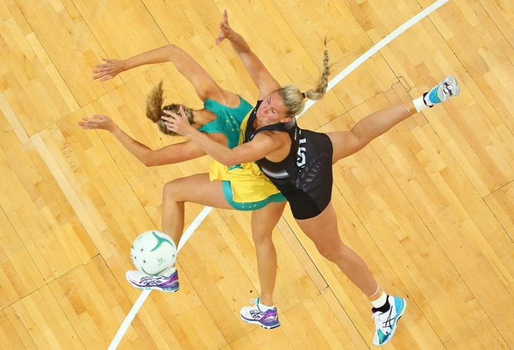 Netball players Casey Kopua of the Silver Ferns and Erin Bell of the Diamonds compete for the ball during the International Test match at the Hisense Arena in Melbourne