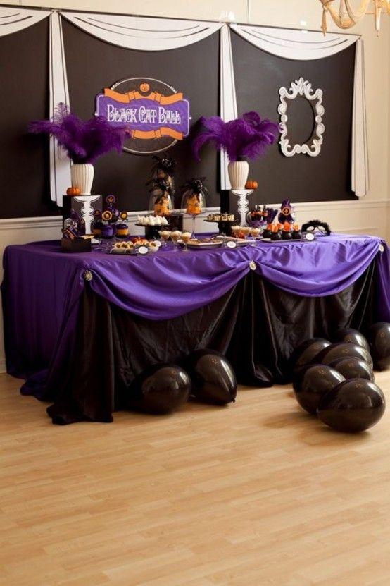 halloween dessert table ideas the black cat ball such a cute idea - Halloween Table Ideas