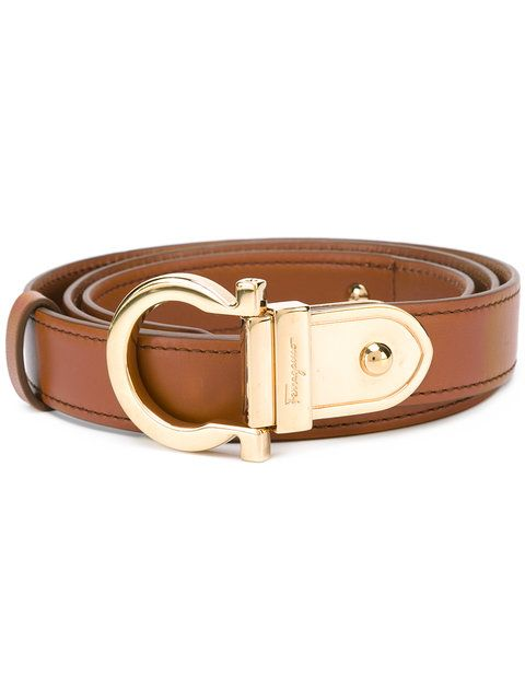 Shop Salvatore Ferragamo contrast Gancio buckle belt.