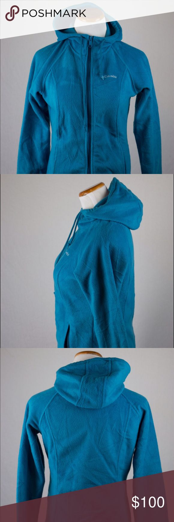 Columbia Women's Hooded Zip Up Jacket Female small light blue Columbia hooded zip up jacket. This Columbia jacket was hand picked and professionally cleaned before selling it to you! SKU in warehouse is # 676. Columbia Jackets & Coats