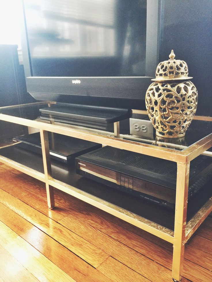 gold leafed ikea tv stand