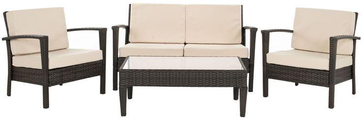 Safavieh FOX6006 Brown / Beige Piscataway 4 Piece Outdoor Chat Set Brown / Beige Furniture Outdoor Furniture Outdoor Chat Sets