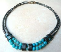 Vintage Double Strand Hematite And Turquoise Necklace.