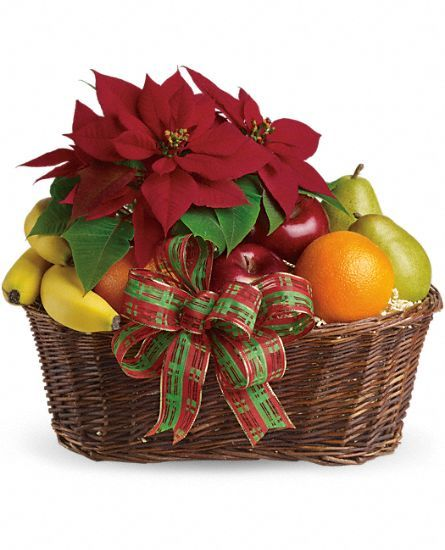 Fruit and Poinsettia Gift Basket, Fruit and Poinsettia Gift Basket Delivery - Teleflora.com