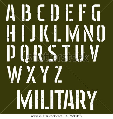 Military stencil vector font. Sprayed type - stock vector