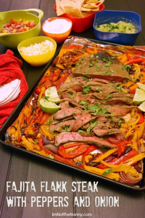 Fajita flank steak with peppers and onion   – Recipes to try