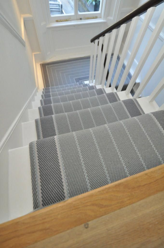 Stunning Striped Grey Stair Runner By Bowloom Ltd Www Bowloom Co
