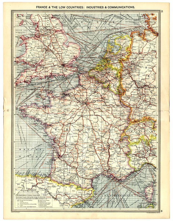23 best antique maps ebay at httpstoresebaysleekburn 1907 antique map europe industry communications france belgium netherlands etc gumiabroncs Image collections