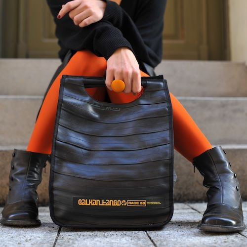 Balkan Tango's recycled inner tube bags and accessories are fully handmade in a Budapest based workshop. As they are all made from random punctured bicycle inner tubes, you cannot find two similar, even if they look like that from a remote point of view: every item has it's patch or an originally printed write on itself