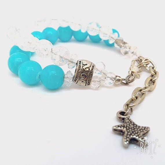 US$17.90 Aqua Color Bracelet Mountain Crystal Blue Agate Bracelet Starfish Charm Silver Chain Feminine Bracelet #Seaside Jewelry #Holiday Bangle Gift Two strands bracelet Charming Bracelet Cruise #Jewelry Natural Jewel #Summertime Gift  Two strands #bracelet is made of amazing #agate and #mountaincrystal beads For me these aqua-white colors are associated with freshness of warm sea and serenity… Perfect fit for everyday use and special occasions! #christmas #gift