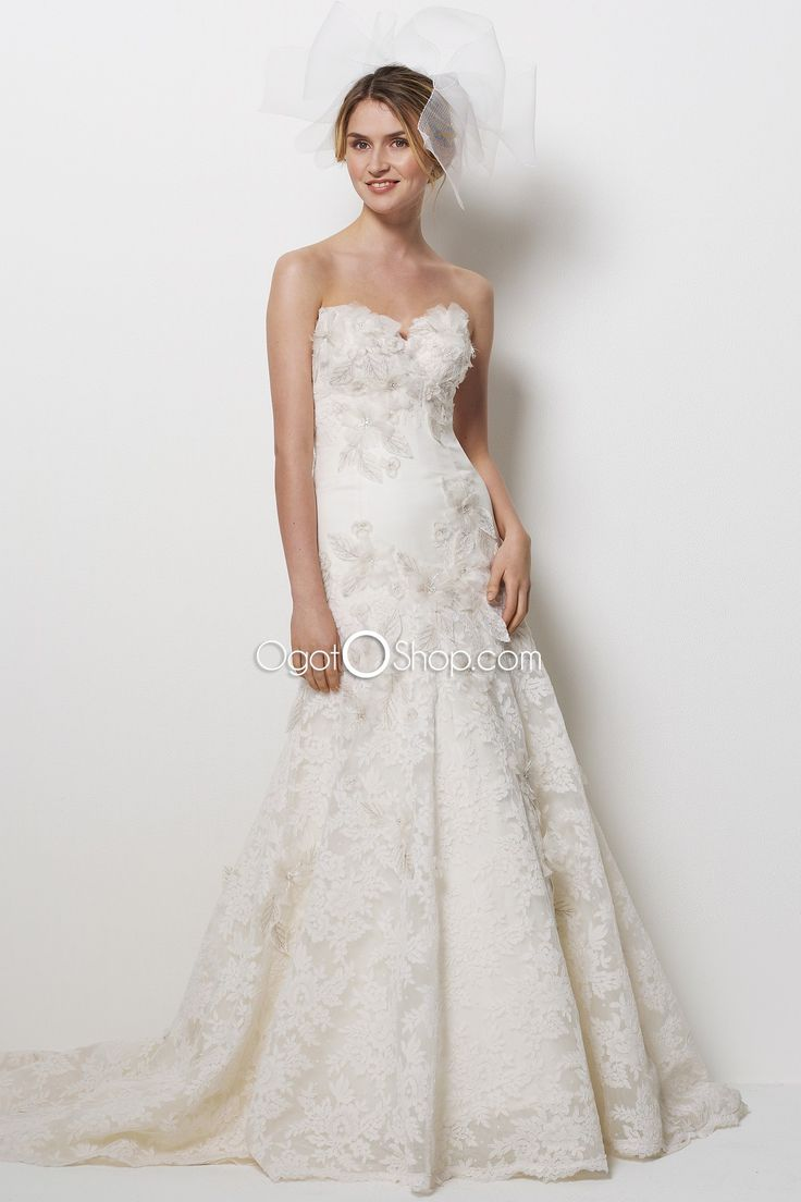 Perfect Fairytale A line delicate applique and beaded lace wedding dresses with long train