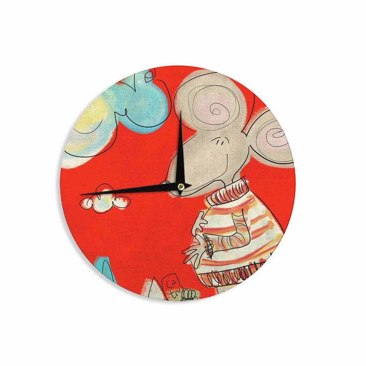 """Carina Povarchik """"Urban Mouse - Red """" Teal Yellow Wall Clock"""