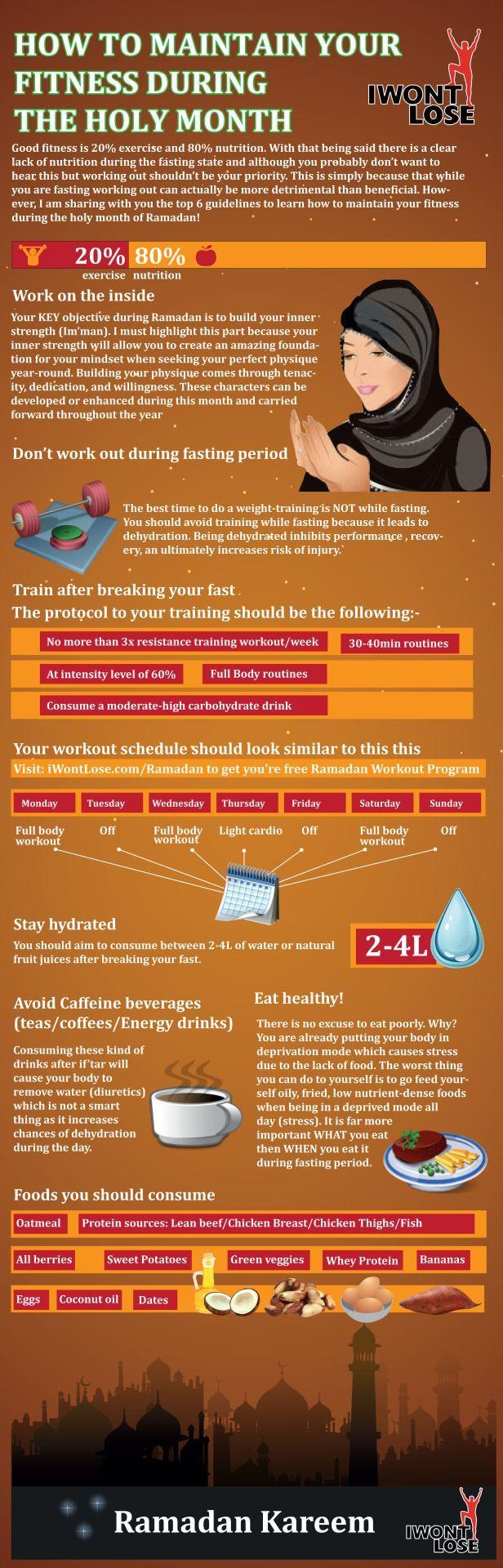 How to Maintain Your Fitness During Ramadanhttp://www.iwontlose.com/ramadan  Ramadan Kareem