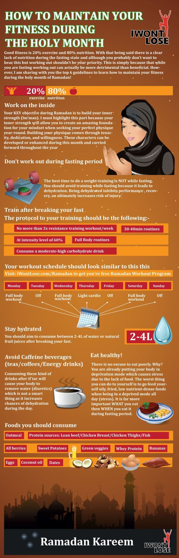How to Maintain Your Fitness During Ramadanhttp://www.iwontlose.com/ramadan  Ramadan Kareem