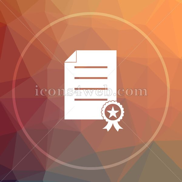 Certificate Low Poly Icon Website Low Poly Icon Royalty Free Icons Website Icons Low Poly