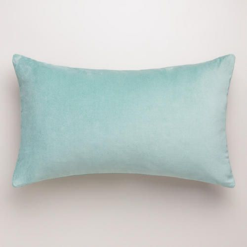 One of my favorite discoveries at WorldMarket.com: Blue Surf Velvet Lumbar Pillow - 12 x 20 - $16.99