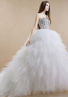 Dathybridal #ウェディングドレス ビスチェ チャペル エンパイア ハイウエスト ビーズ レースアップ ノースリーブ #ボールガウン 二次会 ドレス 花嫁 Halz0043