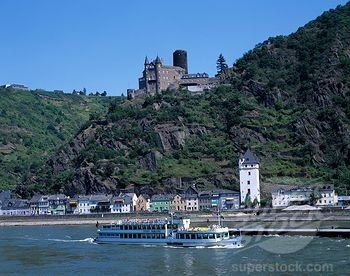 St. Goar, Germany located along the Rhine River. In the background is Burg Cutts Castle - I visited this city during a snow storm. Lovely!