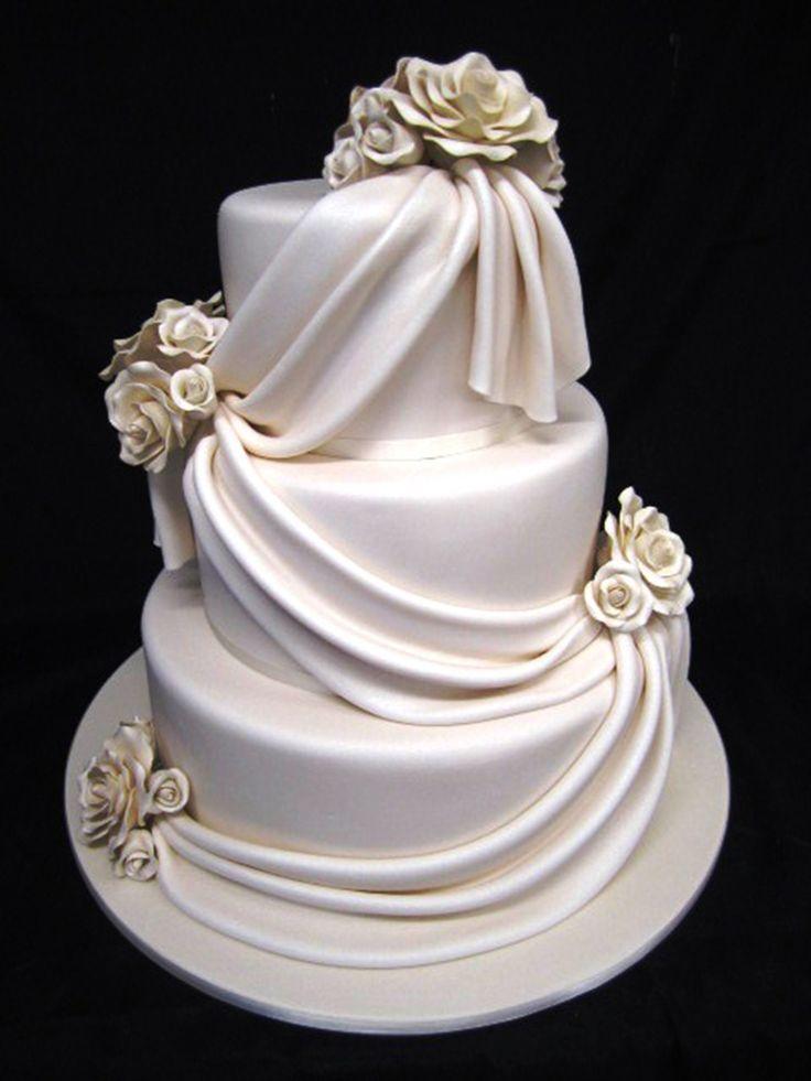 Ivory Draping #Cake