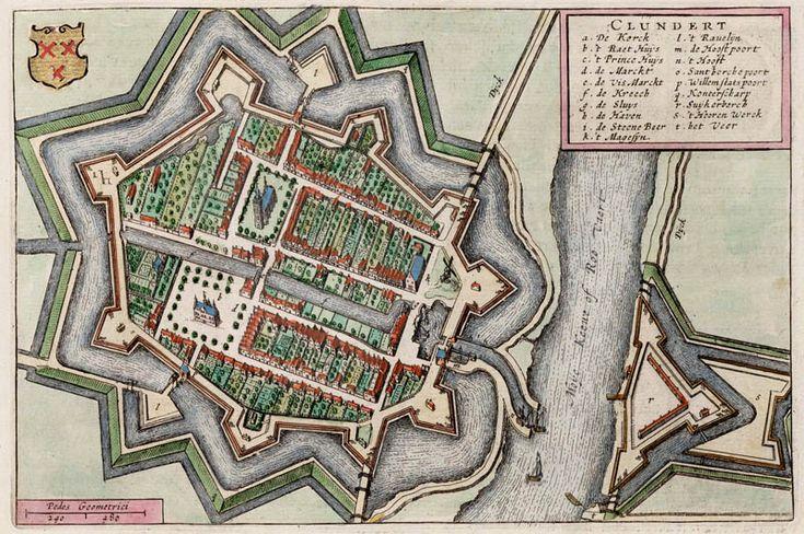 Plattegrond van Klundert in Brabant in 1649 door J. Blaeu uitgegeven