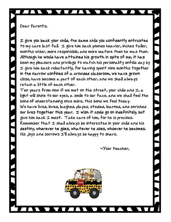 End of the year letter to parents...What parent wouldnt love to get ...