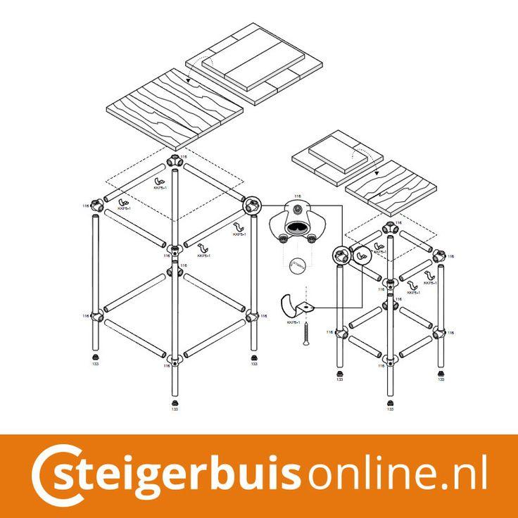 Werktekening (DIY) - Bartafel en barkruk van steigerbuis