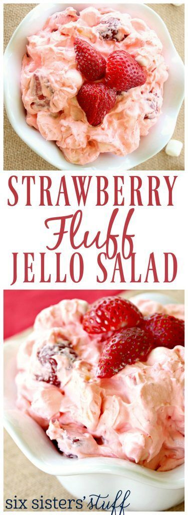 Strawberry Fluff Jello Salad on SixSistersStuff.com ~~ This creamy salad with fresh strawberries is a perfect summer recipe and great as side for your next bbq!