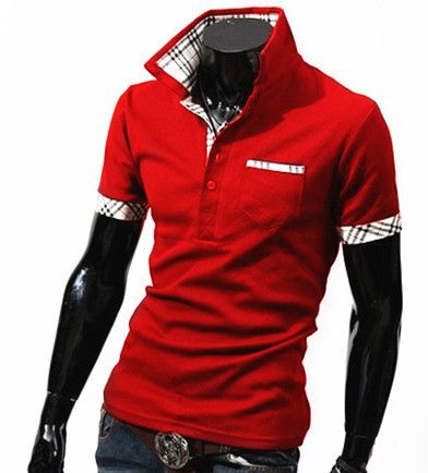 Solid Color Plaid Accents High Collar Men's Polo Shirt