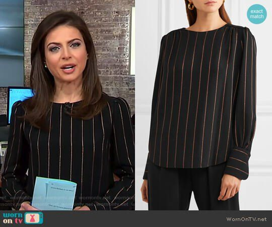 Bianna's black and gold pinstripe top on CBS This Morning.  Outfit Details: https://wornontv.net/84900/ #CBSThisMorning