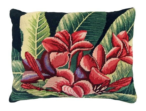 "NCU-428 Plumeria 16""x20"" Needlepoint Pillow"