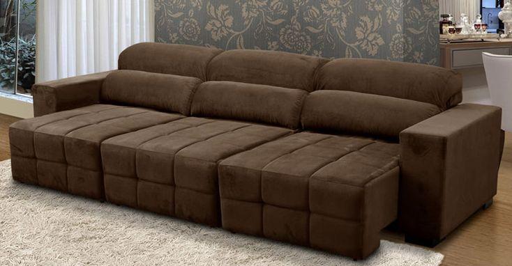 sofa retratil e reclinavel 3 lugares marrom