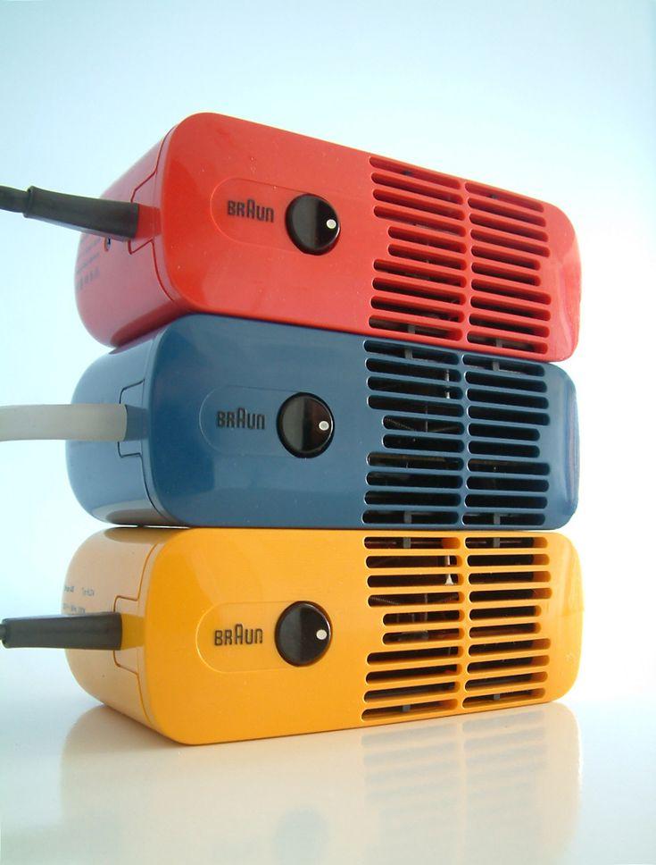 Three Braun HLD 4 Hair Dryers designed by Dieter Rams in 1970
