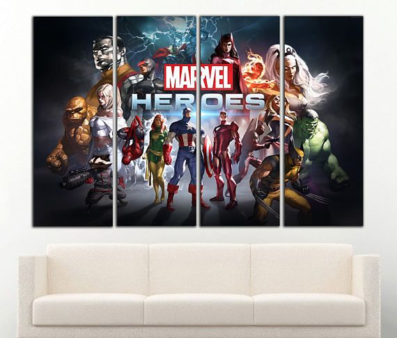 Marvel Wall Art Marvel Canvas Marvel Print Marvel Decor Wall Superhero Canvas Art Kids Room Wall Art Superhero Canvas Kids Print Decor. Ready to hang!  Decorate your walls by impressive pictures on canvas, Let our artwork will add comfort to your home or office. We printing on natural cotton canvas, stretch on a 1,6 (4cm) wooden frame with gallery wrap, packed in a tight box. This canvas is ready to hang with hanging hardware.  Select your size and number of panels. Showed total size for all…