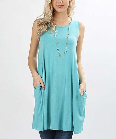 89e57562d81 Another great find on  zulily! Ash Mint Side-Pocket Sleeveless Tunic ...