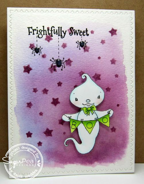 Card by Anita Madden for SugarPea Designs.  Stamp: Eek-A-Boo.  SugarCut Dies: Scattered Stars, Zig Zag Stitched Rectangles.  Halloween Card.