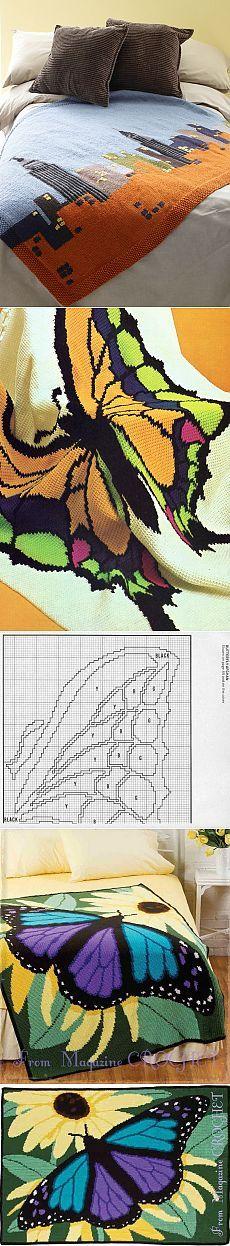 Колоритные пледы, связанные в технике «интарсия» — Рукоделие