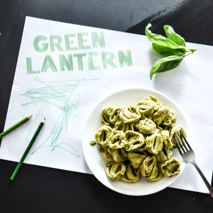 "Green Lantern Pasta... Is there anything more delicious. Cook up some of Angelo's spinach and ricotta tortelloni, mix through some basil pesto and call it ""Green Lantern Pasta"". Your children will LOVE it!"