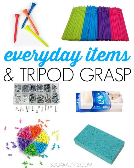 Work on tripod grasp using everyday household items. Tips from an Occupational Therapist.