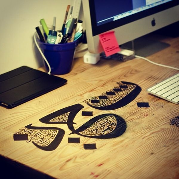 Desk Calligraphy by Kristyan Sarkis, via Behance