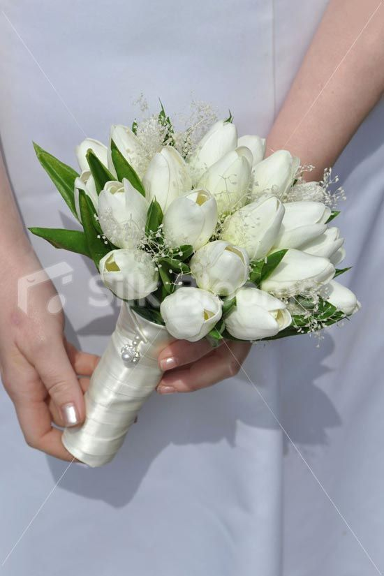Vintage Ivory Real Touch Tulip Gypsophila Bridesmaids Bouquet