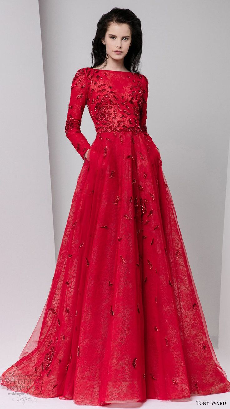 tony ward fall 2016 rtw long sleeve boat neck illusion bodice a line evening gown red color pockets embellished