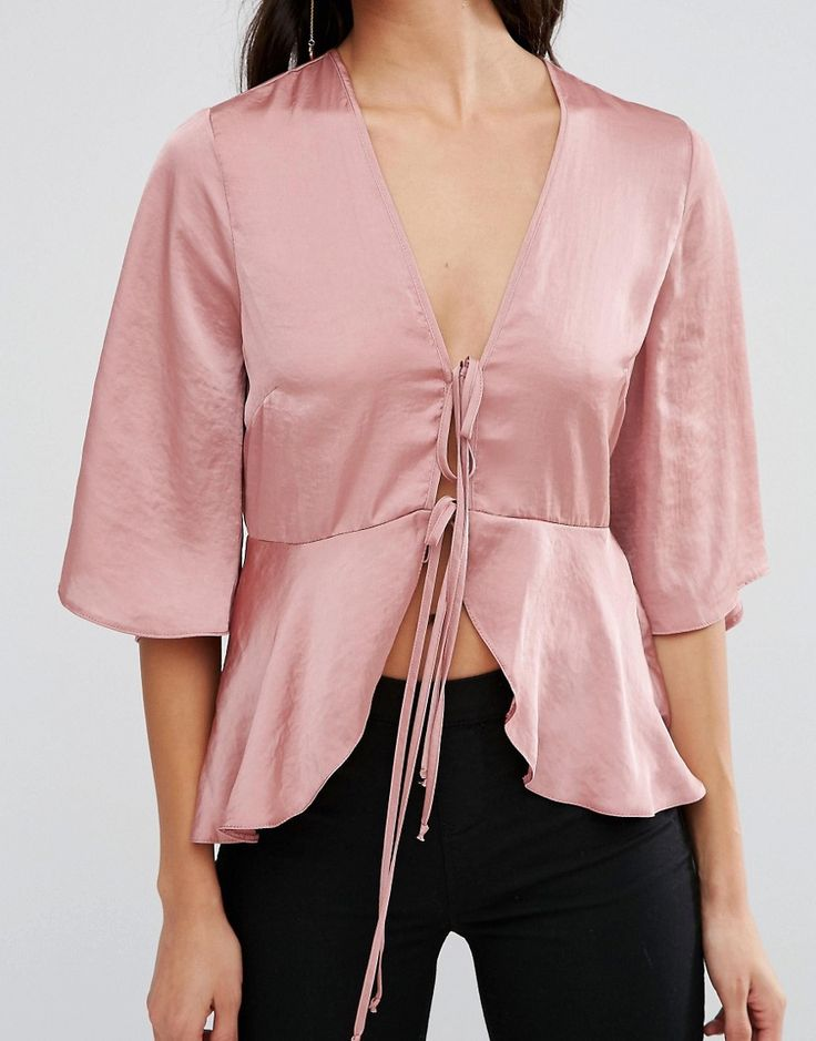 Image 3 of ASOS Satin Drape Tie Front Blouse