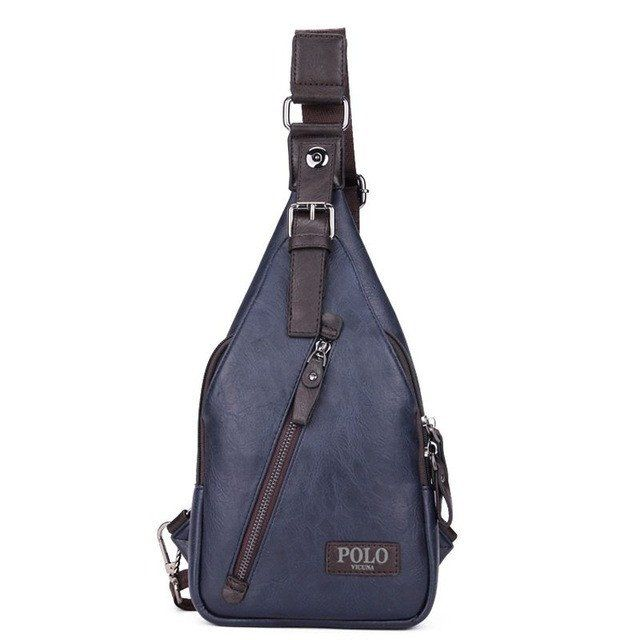 Men Messenger Bag Theftproof Magnetic Button Open Leather Chest Bags Fashion Travel Crossbody Backpack